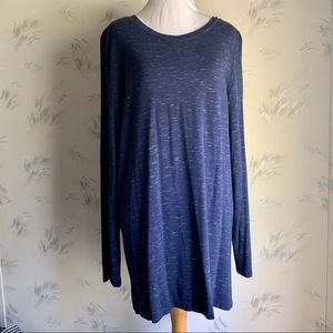 Ann Taylor LOFT Heathered Blue Tunic Top Back Zip